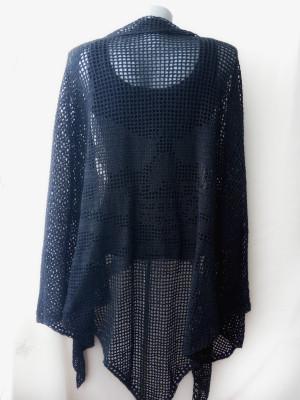 Hand crocheted black shawl Long shawl for women Mesh shawl wrap plus size Skull shawl