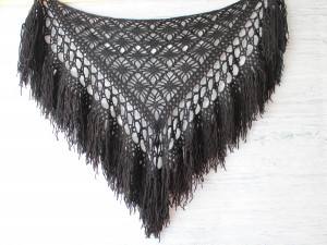 Black shawl Crochet Boho Gypsy festival shawl Witch wedding cape Hand crocheted shawl