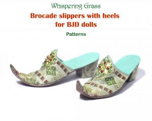 Digital PDF Pattern: Brocade Slippers with Heels for BJD dolls