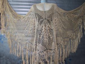 Boho wedding shawl with fringe Golden shawl Bridal shawl lace