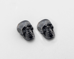 Skull earrings sterling silver black rhodium plated. Small stud earrings screw back. Fast shipping from USA