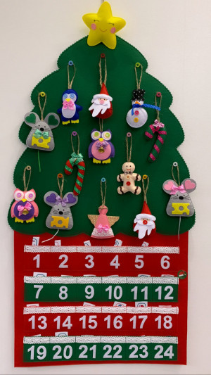 Felt Advent Calendar Christmas New Year tree safety develop motor skills Montessori toys Home decoration with buttons Santa Owl Giraffe