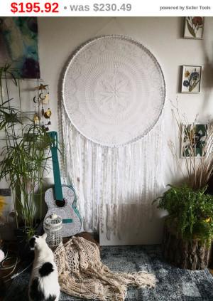 big sale Crochet doily large dream catcher 71 inch , white dream catcher, boho wedding decor, wedding dreamcatcher, baby girl nursery Chr...
