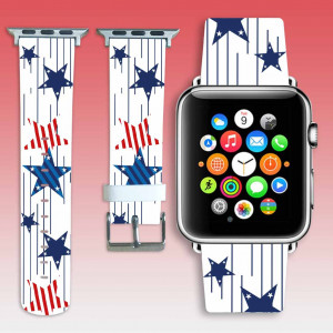 Apple watch strap USA Flag Apple watchband white leather watch strap stars iwatch band 38mm/40mm american flag iWatch strap 42mm/44mm gift