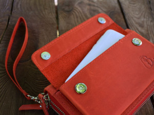 Red leather zipper wallet – clutch, Leather card holder, Iphone case, Travel wallet, Wristlet clutch, Leather gifts, Leather accessories
