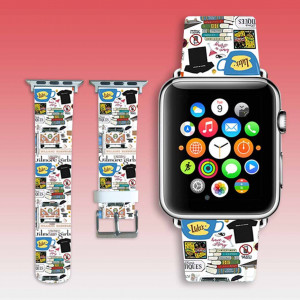 Apple Watch band Leather iWatch strap collage band White Watch belt Apple Watch wristlet Girl Leather Watchband 42 mm iWatch band 38 mm gift