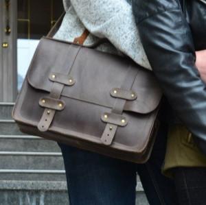Leather laptop crossbody bag men/Crossbody briefcase women/Crossbody satchel