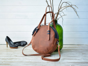 Brown leather crossbody bag, Light brown crossbody, Monogrammed brown leather purse, Round brown purse, Round leather bag, Round crossbody