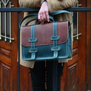 Full grain leather laptop briefcase women/Crossbody briefcase women
