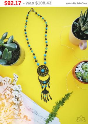 """big sale Blue gemstone howlite Necklace 17.5"""", Natural Stone Jewelry, Reiki Chakra Jewelry, Boho Necklace, Gemstone Necklace, new year gi..."""