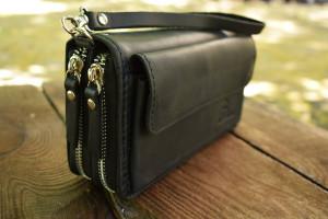 Black leather clutch, black clutch, Leather Wrist Clutch, Handmade Clutch,  black evening clutch, leather zipper clutch, black clutch bag