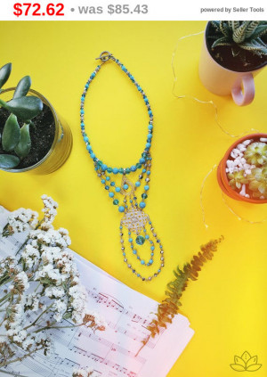 "big sale Blue gemstone howlite Necklace 14"", Natural Stone Jewelry, Reiki Chakra Jewelry, Boho Necklace, Gemstone Necklace, new year gift..."