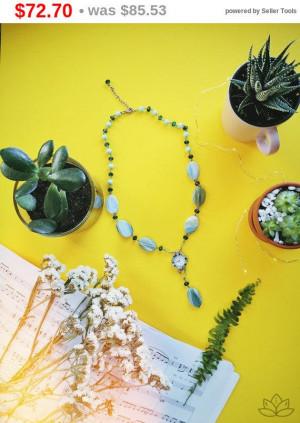 """big sale Green gemtone Agate Necklace 15.5"""", Natural Stone Jewelry, Reiki Chakra Jewelry,Boho Necklace,Gemstone Necklace, quartz watch ag..."""