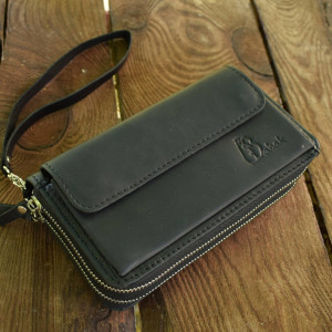 Zip around Wallet, Black leather wallet, Leather Travel Wallet, large wallet, clutch wallet, zip wallet, zippered wallet, wristlet wallet