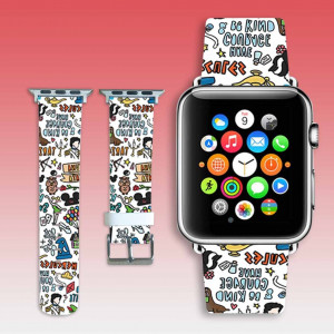 Apple watchband fairy tale collage leather watch band apple watch strap anime collage iwatch band 38 mm iWatch strap 44 mm cute gift for her