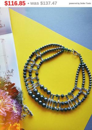 big sale Necklace Labrador Statement Gemstone Necklace, Large Stone Necklace, Chunky Jewellery, Labrador Grey Real gemstone Necklace