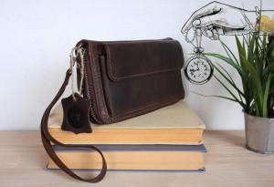 Leather wristlet clutch/Zip around wallet men & women/Custom long wallet/4 designs x 6 colors/PERSONALIZED/Full grain leather