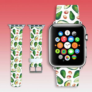 Apple watchband Avocado leather watch band Vegan print apple watch strap women iwatch band 38mm / 40mm floral iWatch strap 42mm / 44mm gift
