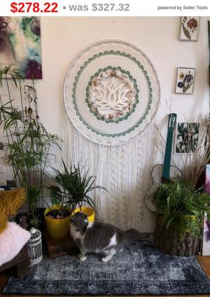 big sale Lotus large dreamcatcher ,white dream catcher, home decor, yoga dreamcatchers wall hanging ,shell dream catcher ,boho dream catc...