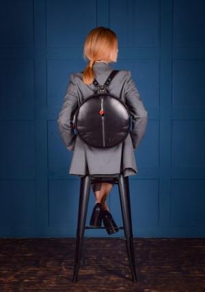 Black leather backpack, Circle leather backpack, Black backpack women, Black backpack purse, Round leather backpack, Monogram backpack