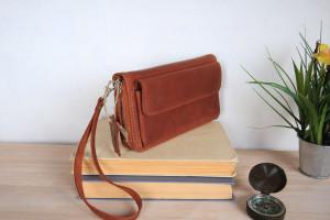 Crossbody leather wristlet Wallet - Handmade zip around Clutch gift for women / her, Genuine cognac cardholder purse, Handmade leather gift