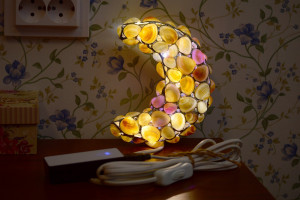 "Sea shell USB LED night light sconce ""Half moon"", crescent kids night lamp gift idea"