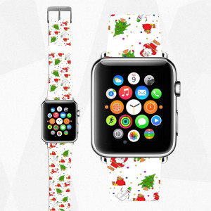 Apple Watch band Christmas Leather iWatch strap Santa iWatch band Leather Watchband 38 mm Watch strap iWatch strap 44 mm cute gift for her