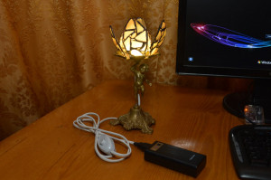 LED night light Lily,  stained glass sea glass USB light, vintage antique gift