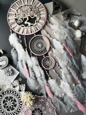Unique Valentine day gift,Lagre gray pink white Dreamcatcher,wall sing,giant Dreamcatcher,color block style,gift friends bride mother father
