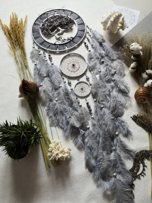Large Gray dream catcher,Lilac Tree of life , gray lilac Dream catcher, wall hanging Dreamcatcher, Boho dream catchers tree of life
