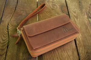 Leather wristlet wallet, Leather travel wallet, Leather wallet clutch, Engraved wallet, Brown leather wallet, Wallet initials, wallet clutch