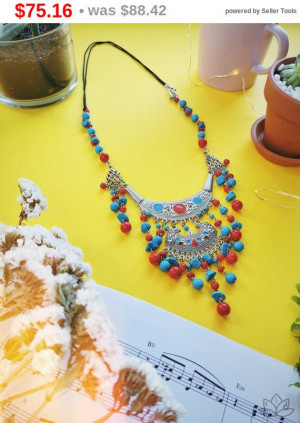 """big sale Blue+red gemstone howlite Necklace 16.5"""", Natural Stone Jewelry, Reiki Chakra Jewelry, Boho Necklace, Gemstone Necklace,  gift C..."""