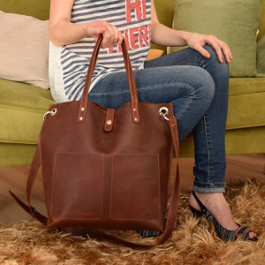 Large leather handbags for women/Personalized leather shoulder tote