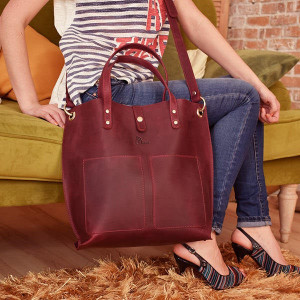 Large leather crossbody laptop bag women/Crossbody tote bag with pockets