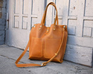 Yellow leather handbags for women/Leather tote bag/Leather crossbody bag