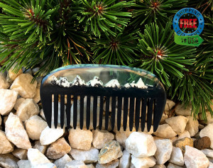 Wood resin black mountain comb, wood comb, hair accessories, wide tooth comb, boyfriend gift, viking comb, wooden comb, wooden hair comb,