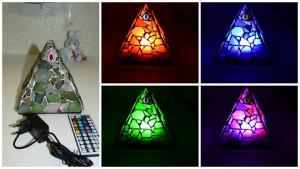 Mason pyramid night light, sea stained glass, night LED lamp, evil eye, many colors, automatic change