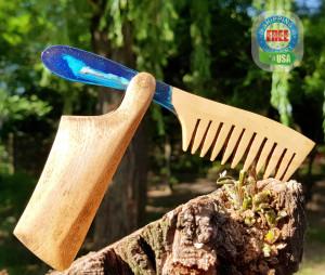 Wood resin blue beard comb, wood comb, hair accessories, boyfriend gift, viking comb, wooden beard comb, wooden hair comb, beard care
