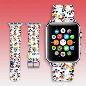 Apple Watch band anime collage Leather Watchband funny mouse iWatch strap Apple Watch wristlet Leather Watchband 38 mm iWatch band cool gift
