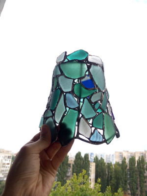 Blue-white lamp shade, small Tiffany style sea stained glass DIY  - made to order unique home art