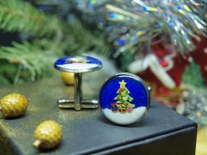 Christmas tree enamel cufflinks, xmas winter jewelry gift, women's suits accessories, cuff links for boss male stocking stuffer present