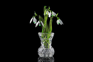 Mother's Day Flower Snowdrop  set of three glass snowdrops and crystal vase  mothers day gift Glass Flower Snowdrop birth flower