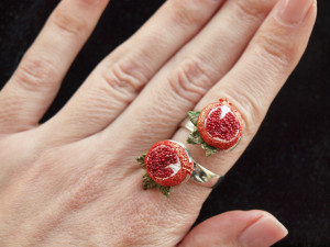 Pomegranate double ring, Persephone jewelry, greek mythology abundance symbol, from mom to daughter Jewish fertility botanical fruit