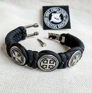 "Black Paracord protective amulet with steel beads ""Templar Cross"", ""JERUSALEM Cross"", ""Templar Cross"". Men's style, a gift for tough men."