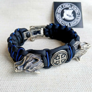 "Paracord bracelet with beads ""Wolf Head"" and ""Jerusalem Cross"". Men's style, a gift for tough men. Biker bracelet."