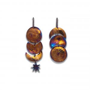 Gold Titanium Earrings - Moon Phase Earrings - Celestial Jewelry - Crescent Moon Earrings - Burnt Orange Earrings