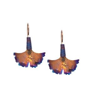 Gold Ginkgo Earrings - Titanium Earrings - Statement Earrings - Ginkgo Jewelry - Ginkgo Biloba Earrings - Ginkgo Earrings