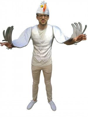 Man Seagull Scuttle Costume Adult Any Size Bird Ready to ship Halloween Christmas White Little Mermaid Men Cosplay Bachelor Party Outfit