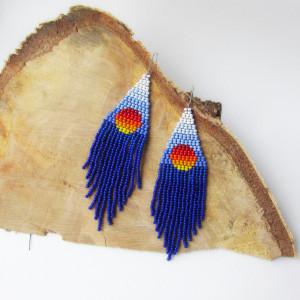 Landscape seed beaded earrings Blue earrings Sunset earrings Royal blue Beadwork earrings Boho earrings Fringe earrings