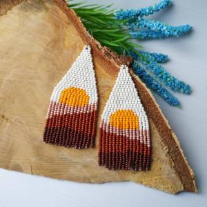 Sun earrings Sunset earrings Beige earrings White earrings Beadwork earrings Boho earrings Landscape Seed Beaded Earrings Fringe earrings